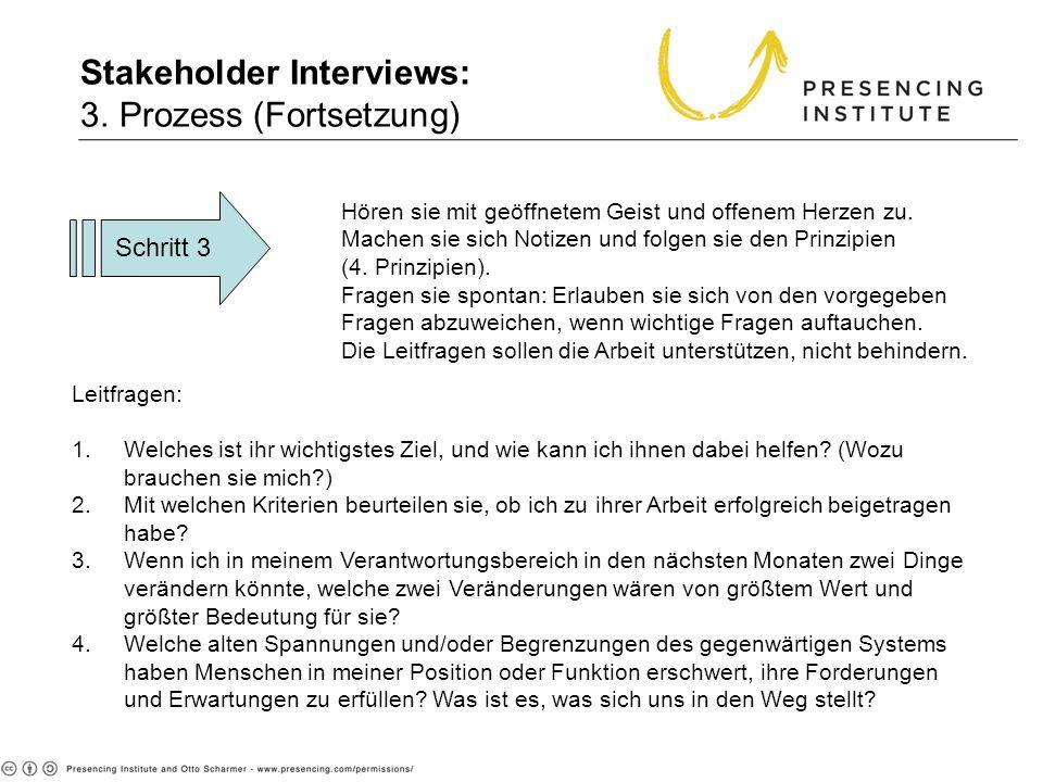 Stakeholder Interviews: 3. Prozess (Fortsetzung)
