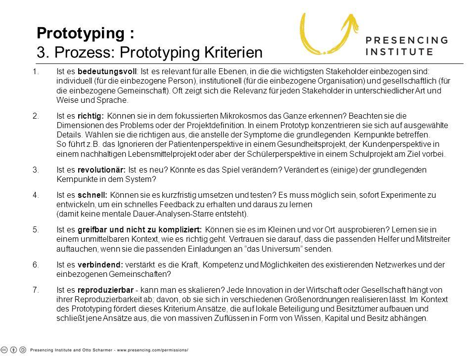 Prototyping : 3. Prozess: Prototyping Kriterien