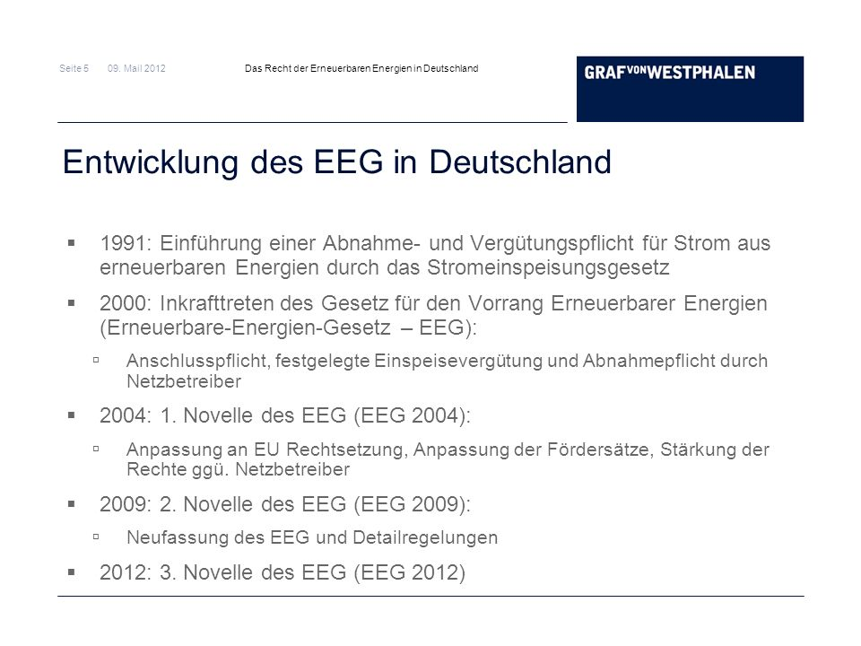 Entwicklung des EEG in Deutschland