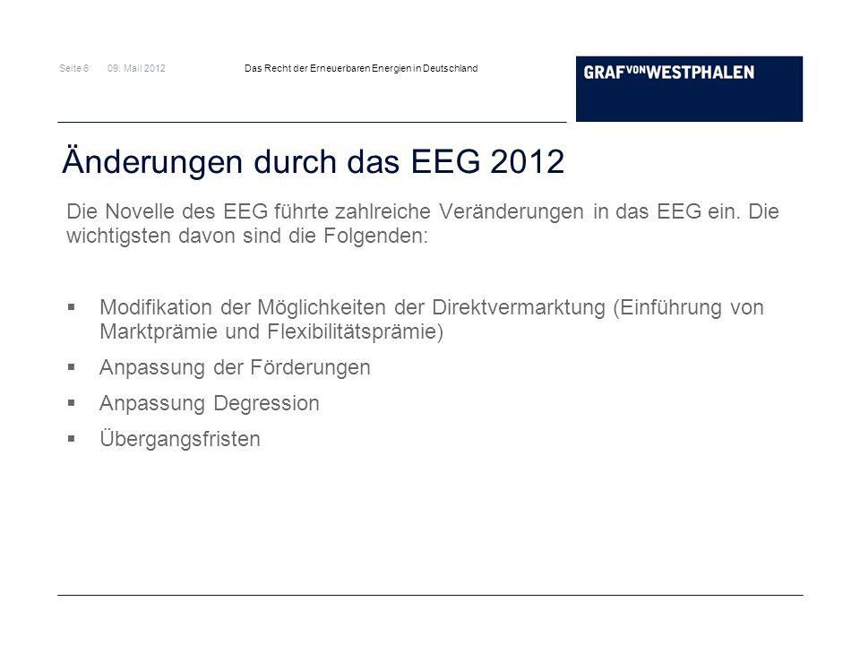Änderungen durch das EEG 2012
