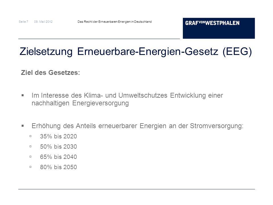 Zielsetzung Erneuerbare-Energien-Gesetz (EEG)