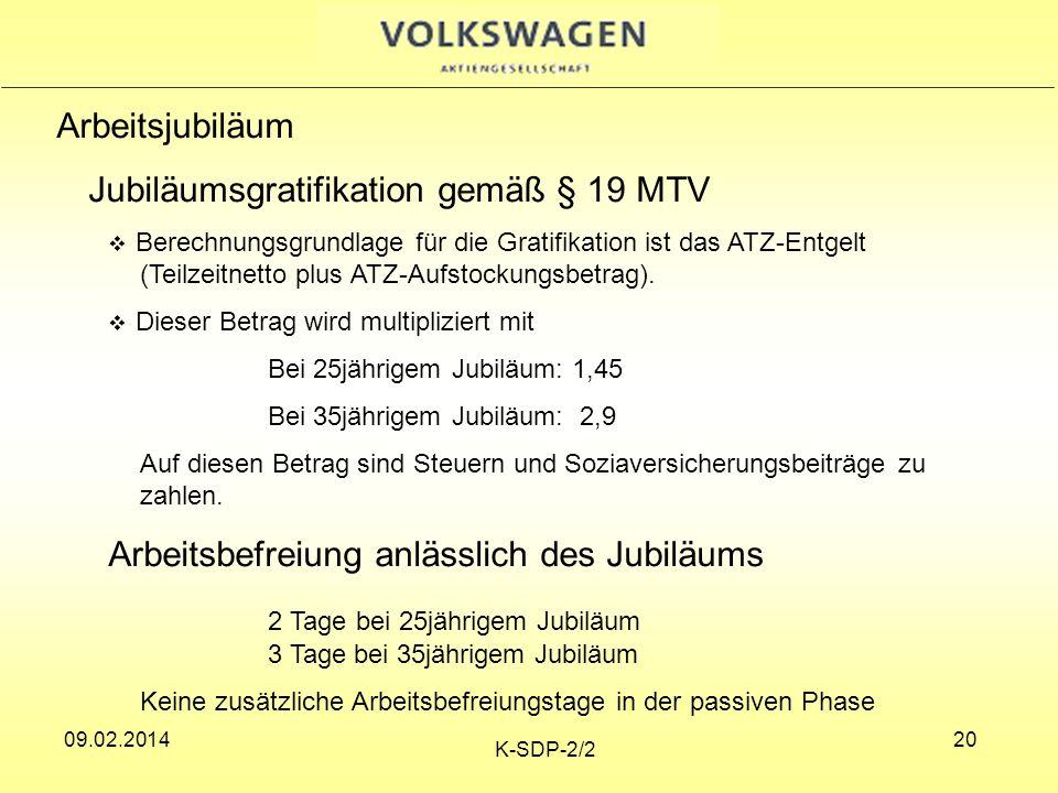 Jubiläumsgratifikation gemäß § 19 MTV