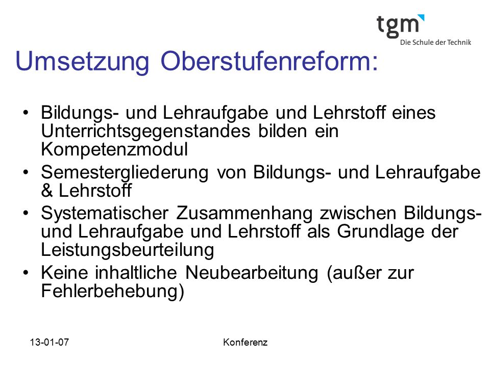 Umsetzung Oberstufenreform: