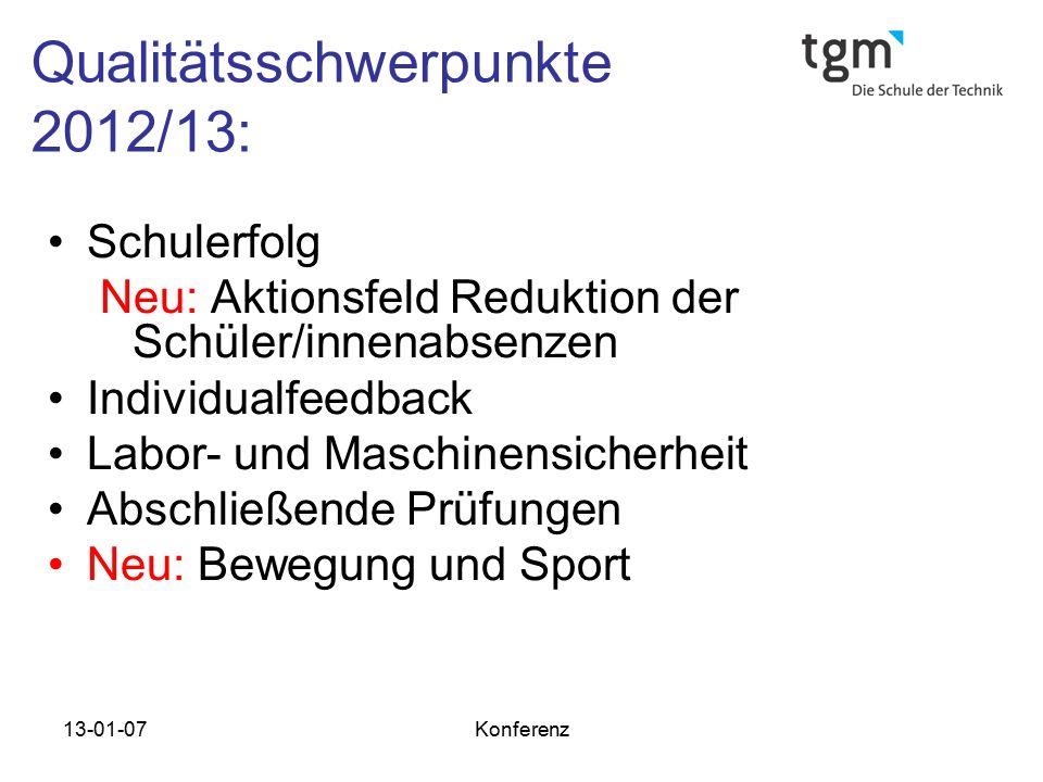 Qualitätsschwerpunkte 2012/13: