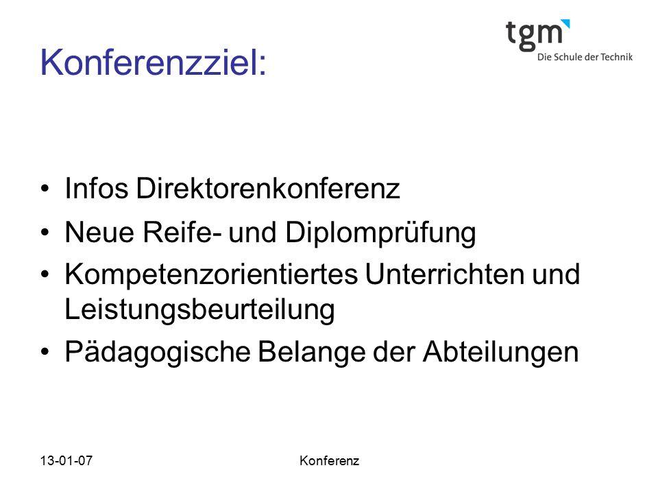 Konferenzziel: Infos Direktorenkonferenz Neue Reife- und Diplomprüfung