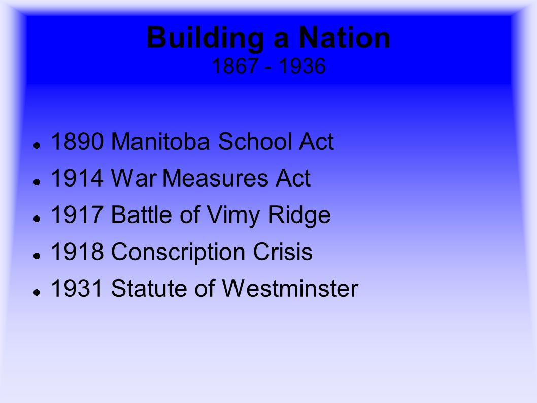 Building a Nation 1867 - 1936 1890 Manitoba School Act