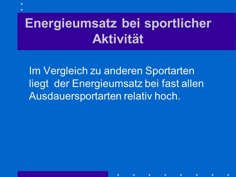 Energieumsatz bei sportlicher Aktivität