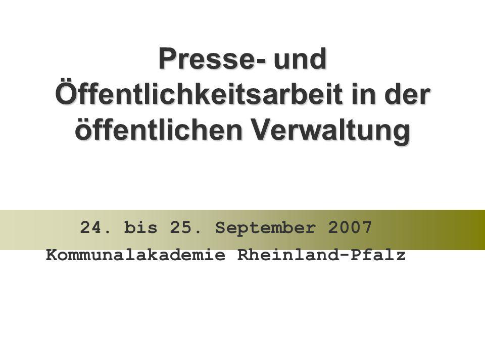 Presse- und Öffentlichkeitsarbeit in der öffentlichen Verwaltung