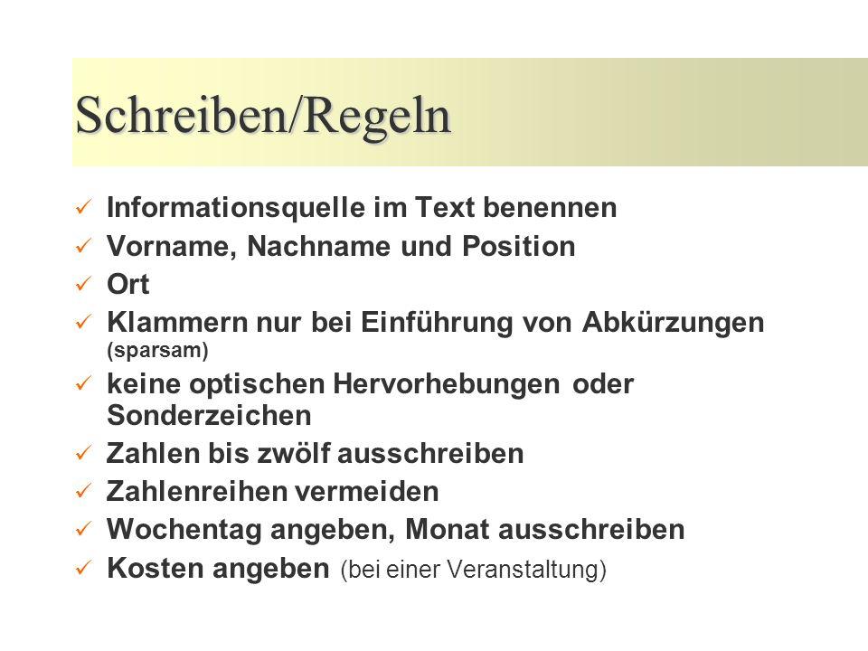 Schreiben/Regeln Informationsquelle im Text benennen