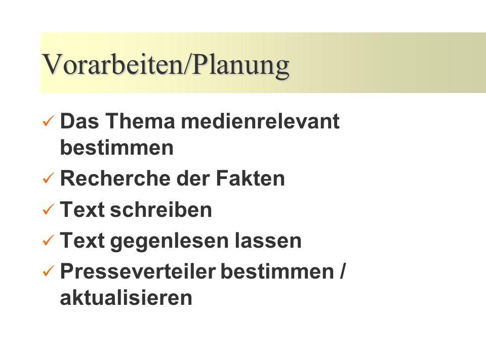 Vorarbeiten/Planung Das Thema medienrelevant bestimmen