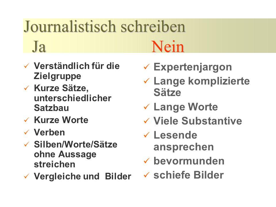Journalistisch schreiben Ja Nein