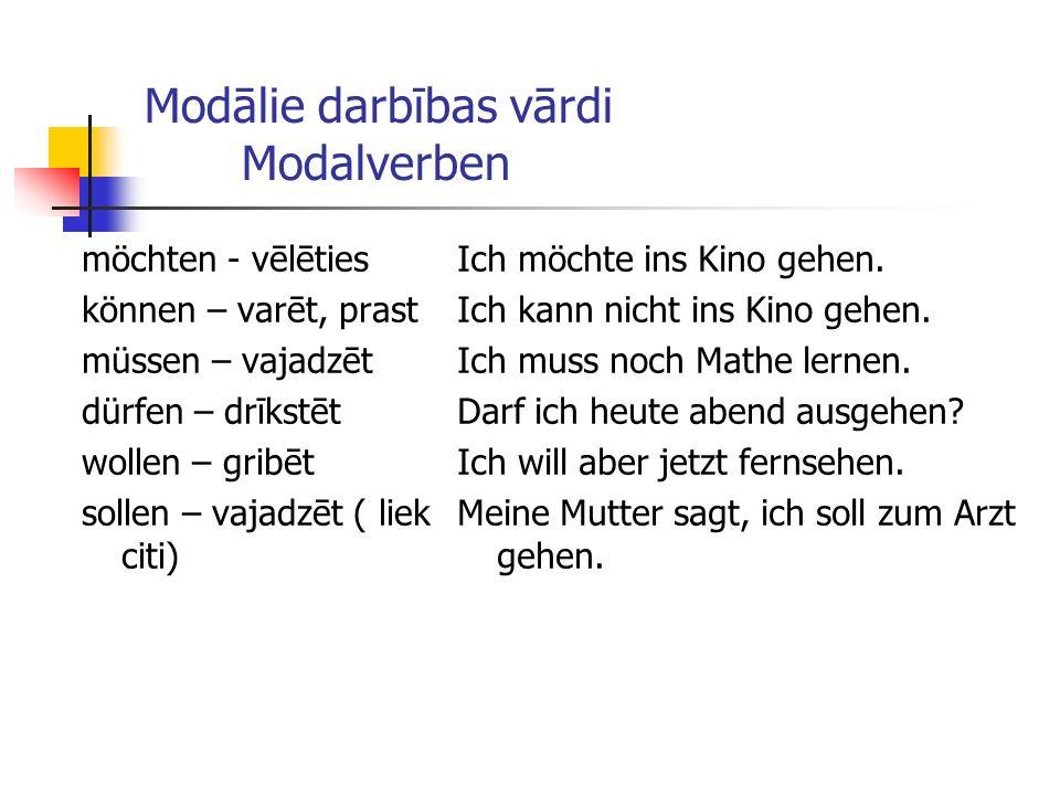 Modālie darbības vārdi Modalverben