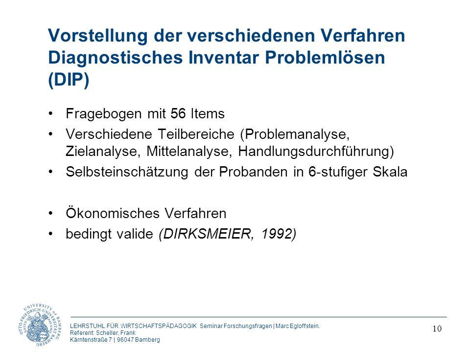 Vorstellung der verschiedenen Verfahren Diagnostisches Inventar Problemlösen (DIP)