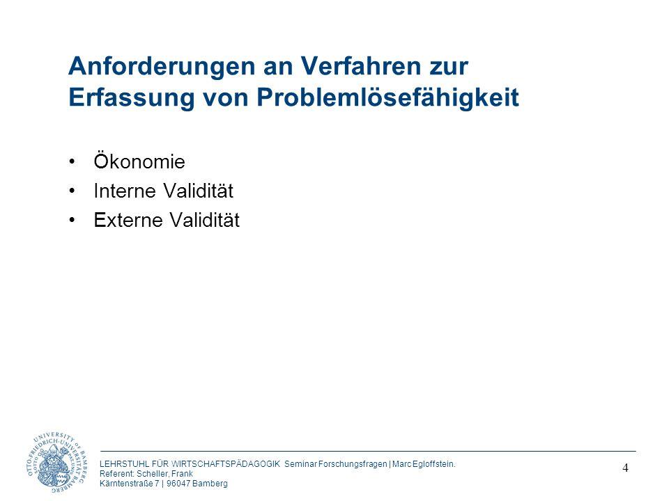 Anforderungen an Verfahren zur Erfassung von Problemlösefähigkeit