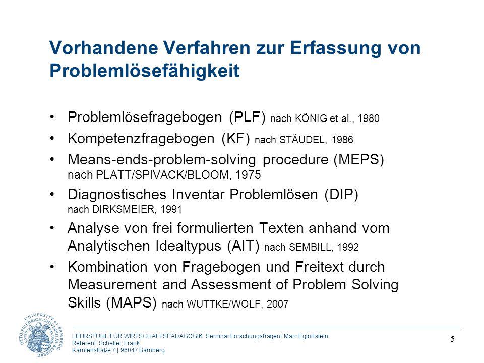 Vorhandene Verfahren zur Erfassung von Problemlösefähigkeit