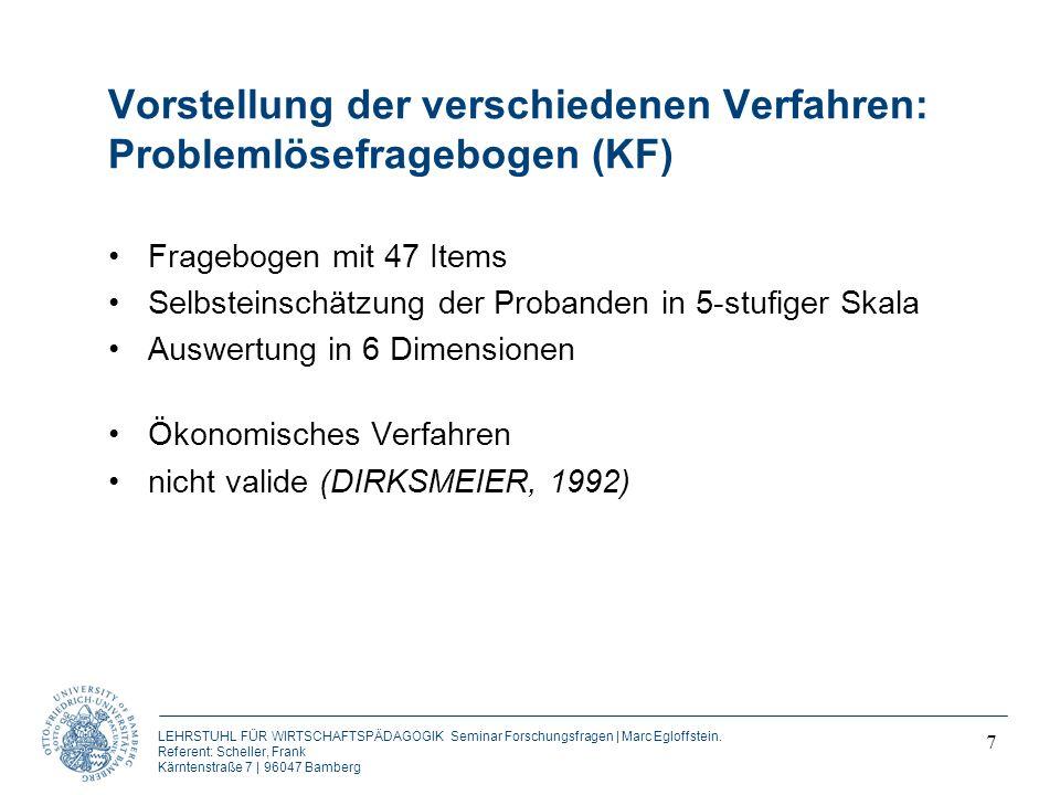 Vorstellung der verschiedenen Verfahren: Problemlösefragebogen (KF)