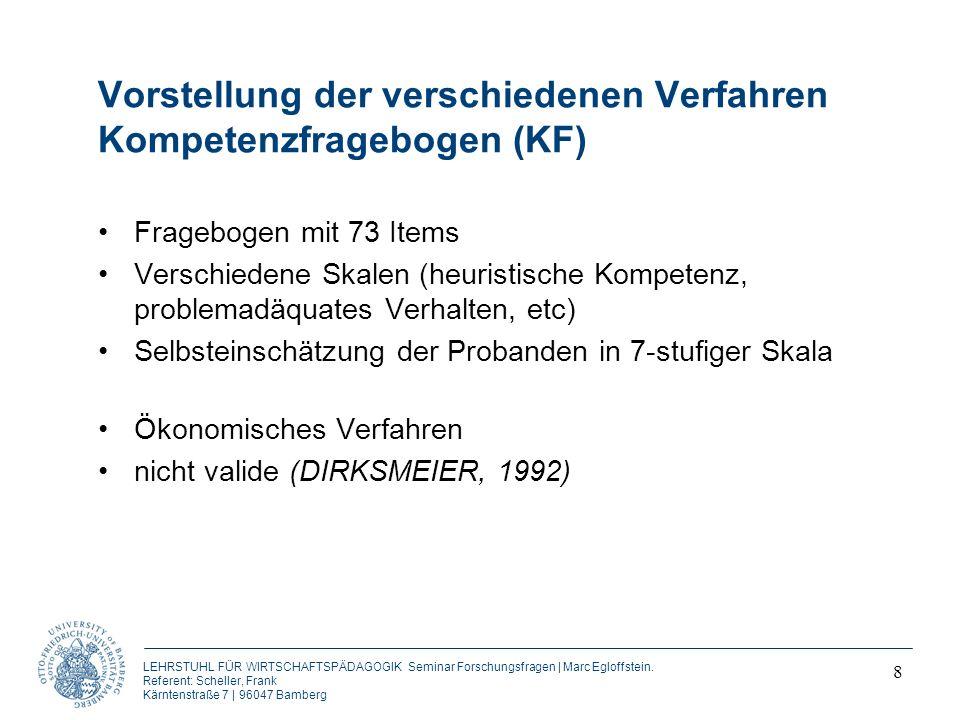 Vorstellung der verschiedenen Verfahren Kompetenzfragebogen (KF)