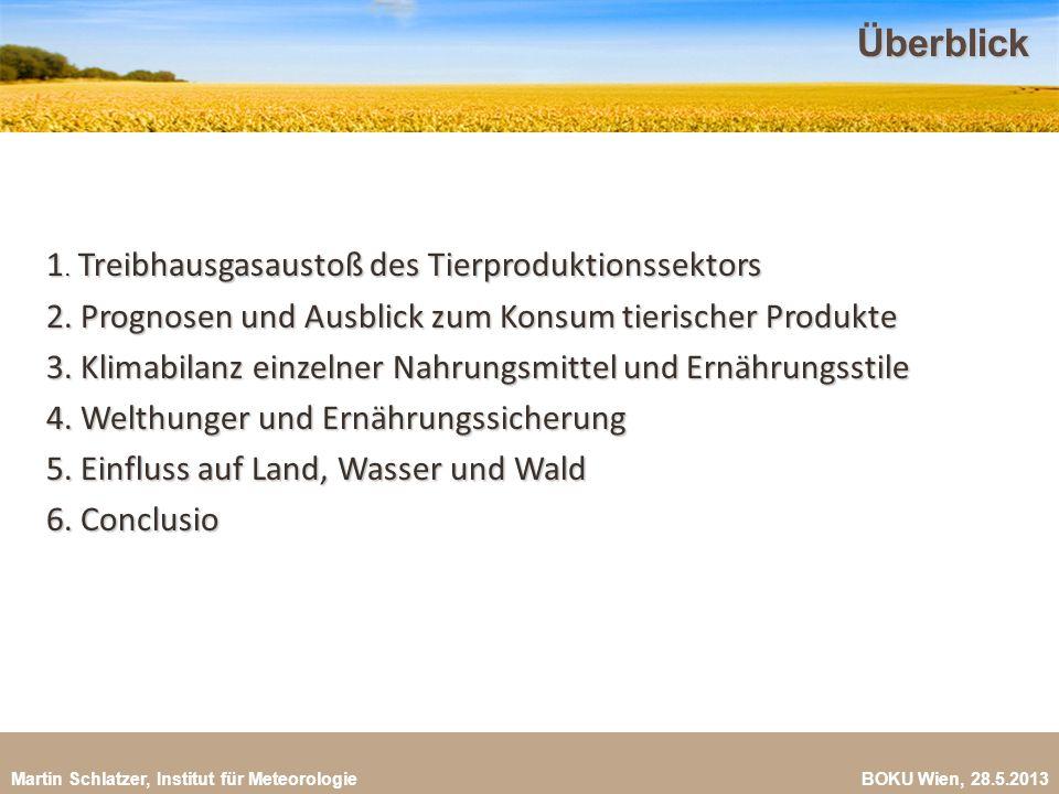 Überblick 1. Treibhausgasaustoß des Tierproduktionssektors