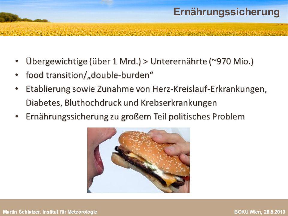 """Ernährungssicherung Übergewichtige (über 1 Mrd.) > Unterernährte (~970 Mio.) food transition/""""double-burden"""