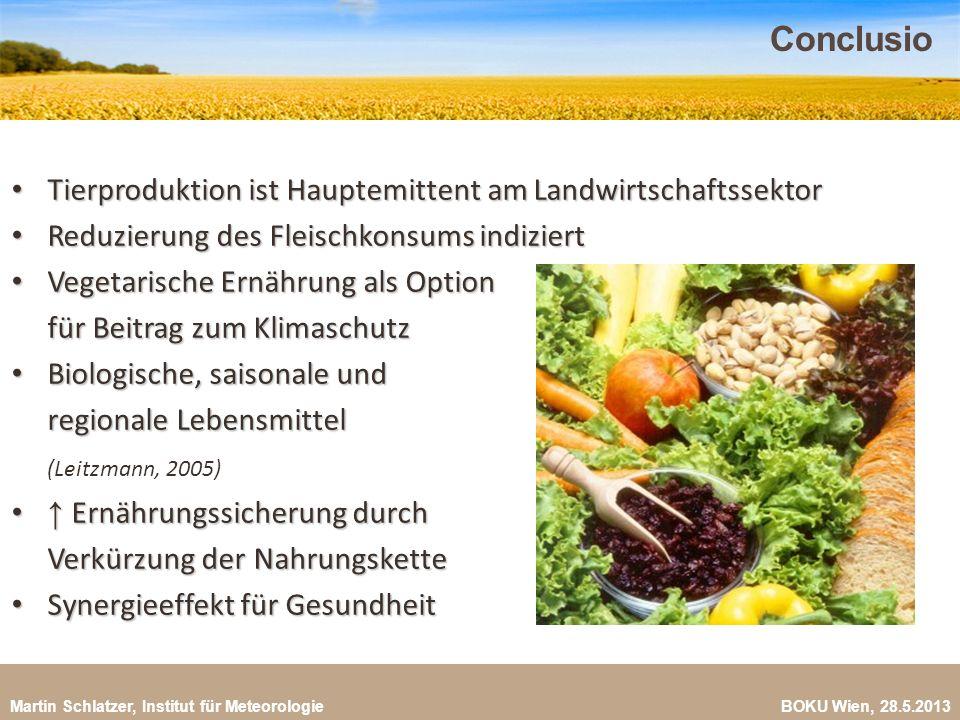 Conclusio Tierproduktion ist Hauptemittent am Landwirtschaftssektor