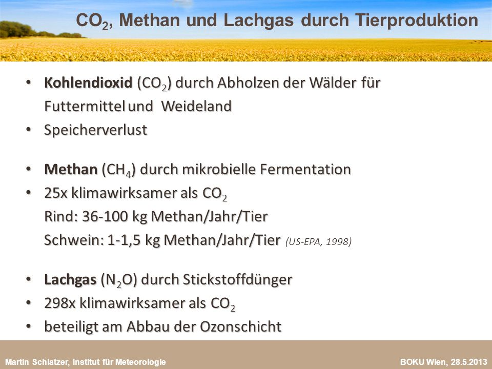 CO2, Methan und Lachgas durch Tierproduktion