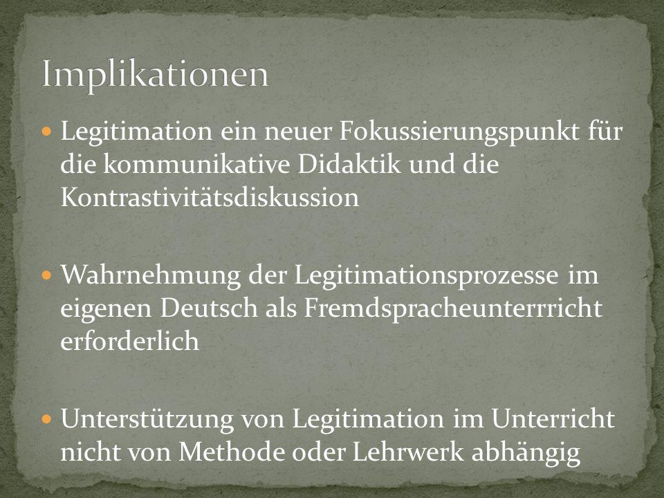 Implikationen Legitimation ein neuer Fokussierungspunkt für die kommunikative Didaktik und die Kontrastivitätsdiskussion.
