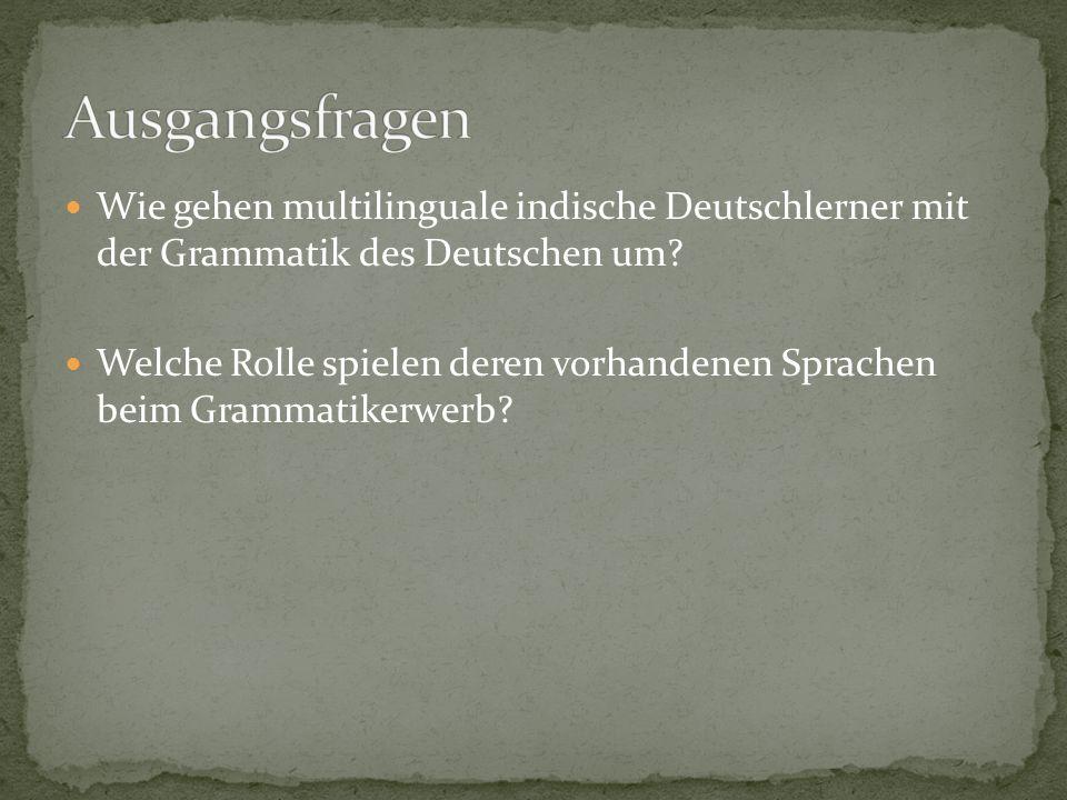 Ausgangsfragen Wie gehen multilinguale indische Deutschlerner mit der Grammatik des Deutschen um