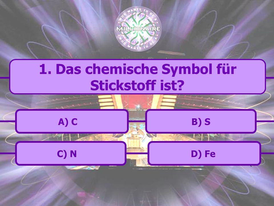 1. Das chemische Symbol für Stickstoff ist