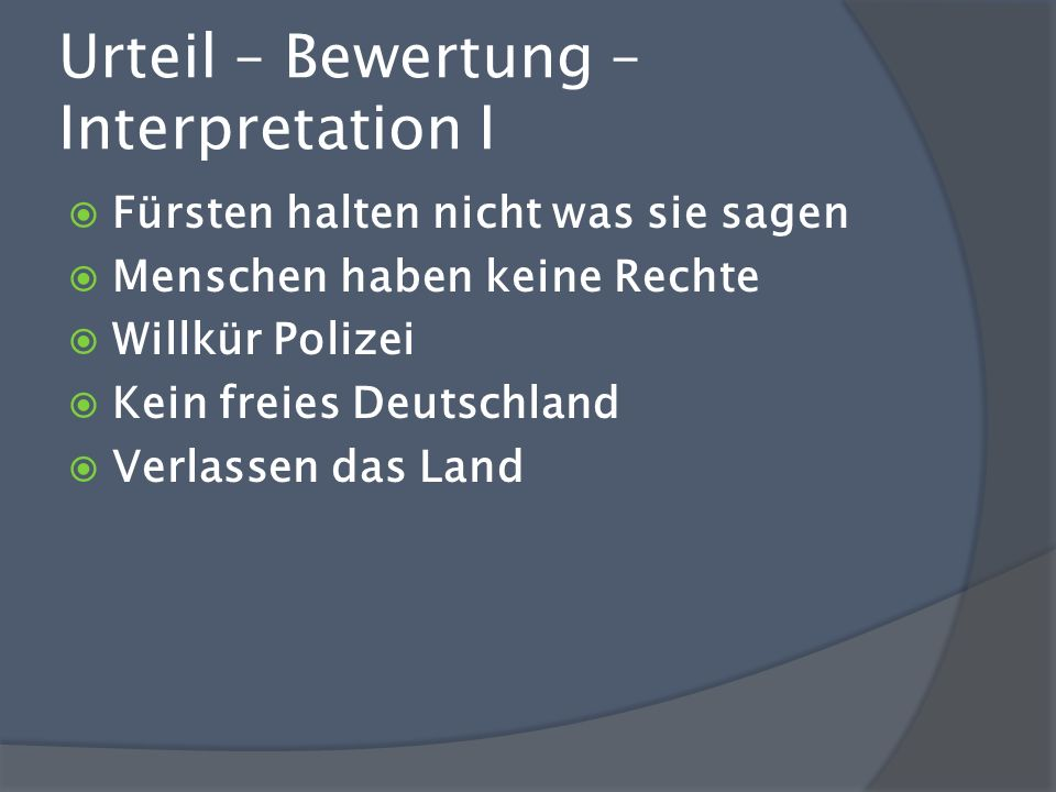 Urteil – Bewertung – Interpretation I