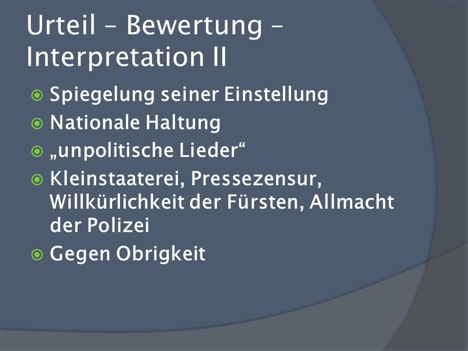 Urteil – Bewertung – Interpretation II