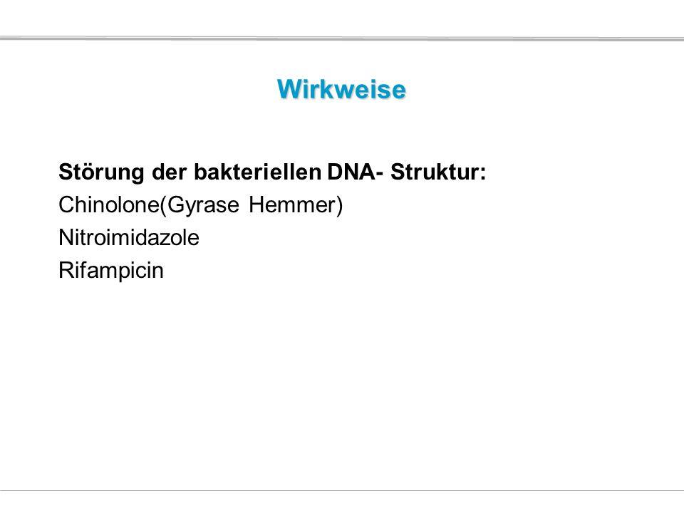 Wirkweise Störung der bakteriellen DNA- Struktur: