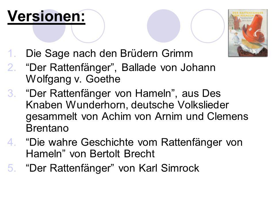 Versionen: Die Sage nach den Brüdern Grimm