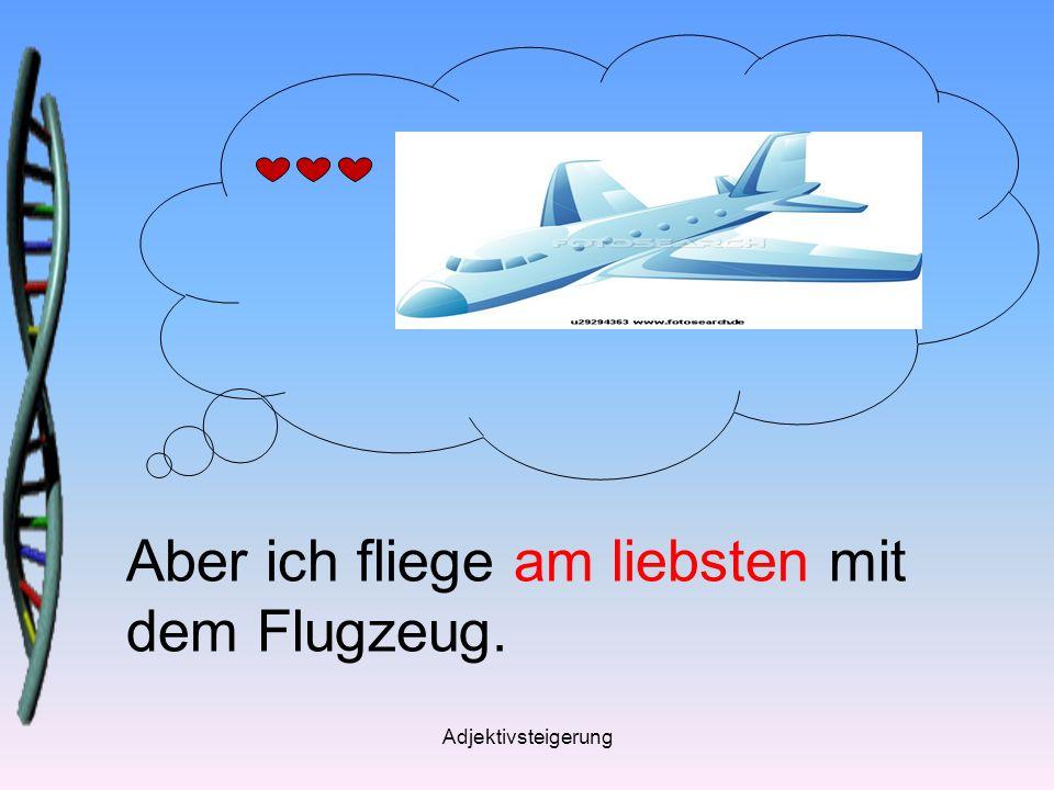 Aber ich fliege am liebsten mit dem Flugzeug.