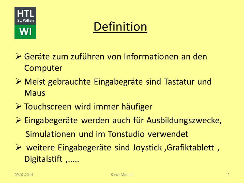 Definition Geräte zum zuführen von Informationen an den Computer