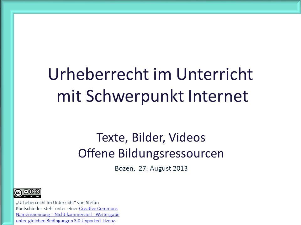 Urheberrecht im Unterricht mit Schwerpunkt Internet