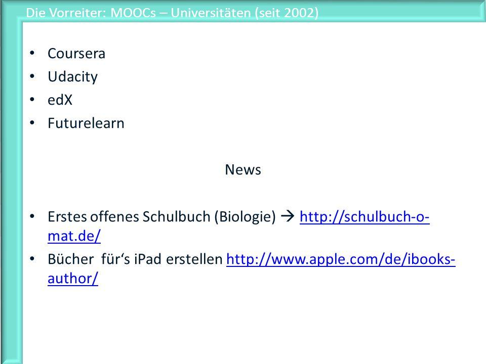 Die Vorreiter: MOOCs – Universitäten (seit 2002)
