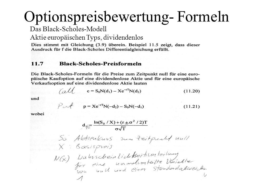 Optionspreisbewertung- Formeln