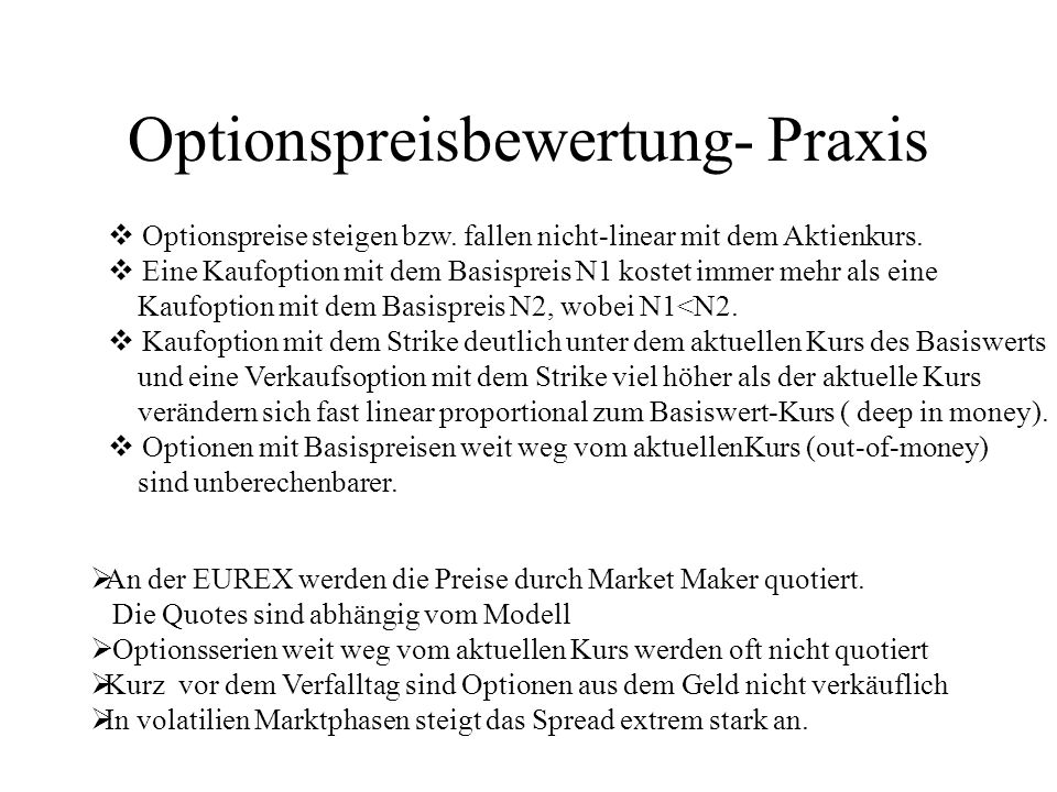 Optionspreisbewertung- Praxis