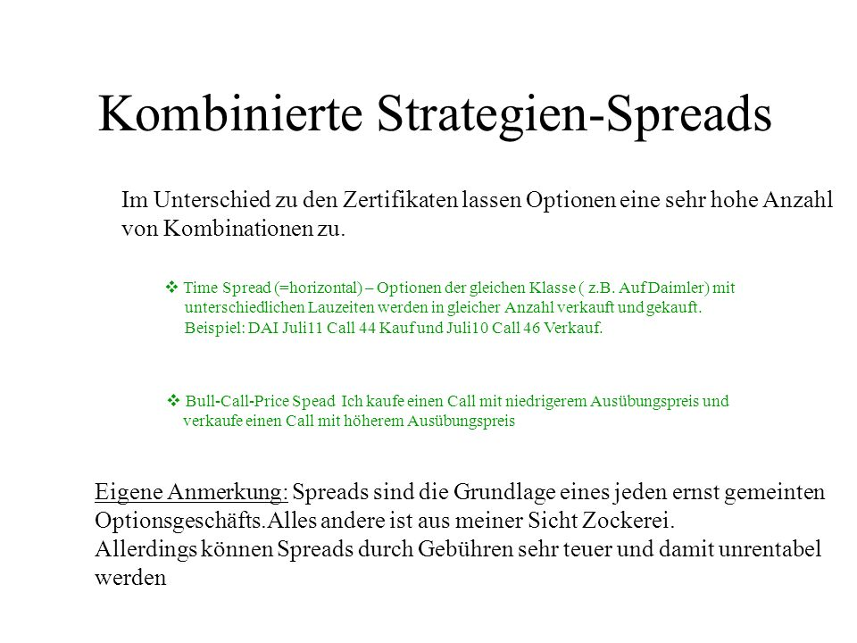 Kombinierte Strategien-Spreads