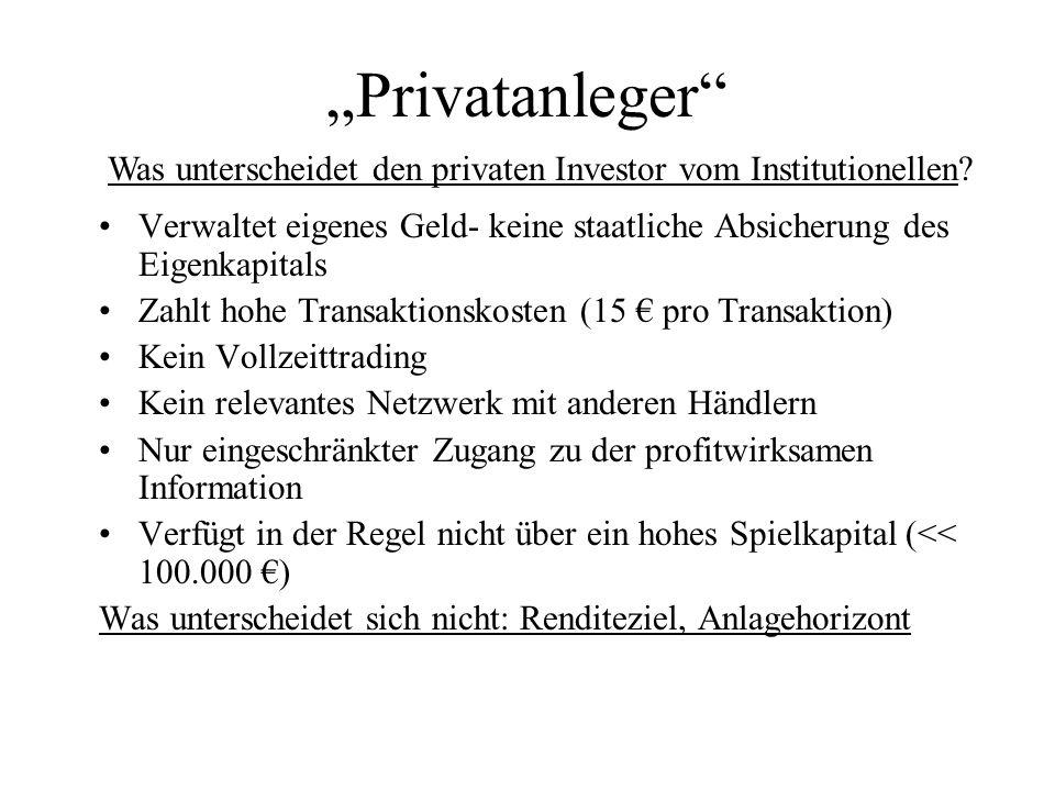 """""""Privatanleger Was unterscheidet den privaten Investor vom Institutionellen Verwaltet eigenes Geld- keine staatliche Absicherung des Eigenkapitals."""