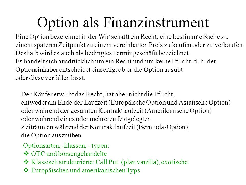 Option als Finanzinstrument