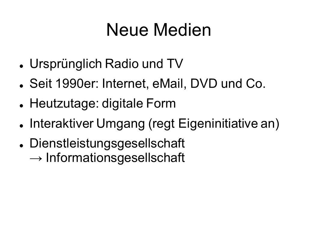 Neue Medien Ursprünglich Radio und TV