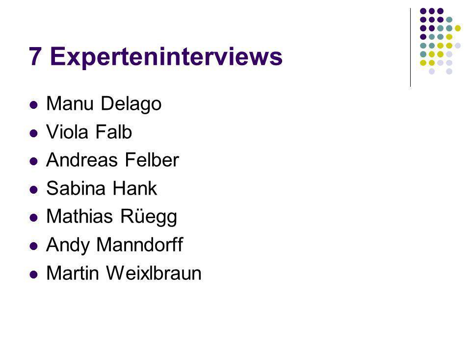 7 Experteninterviews Manu Delago Viola Falb Andreas Felber Sabina Hank