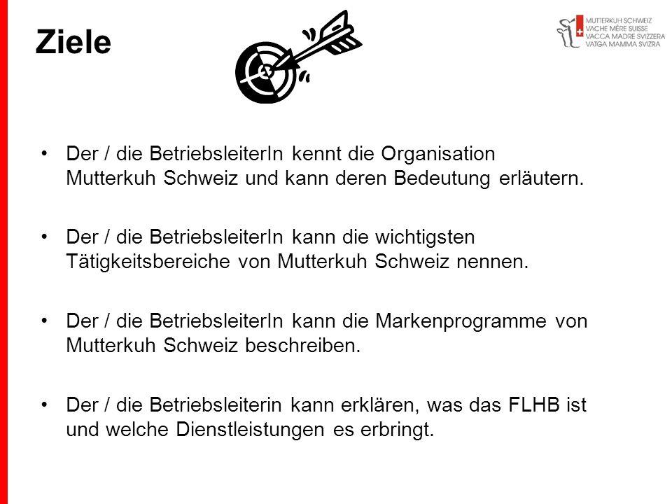 Ziele Der / die BetriebsleiterIn kennt die Organisation Mutterkuh Schweiz und kann deren Bedeutung erläutern.