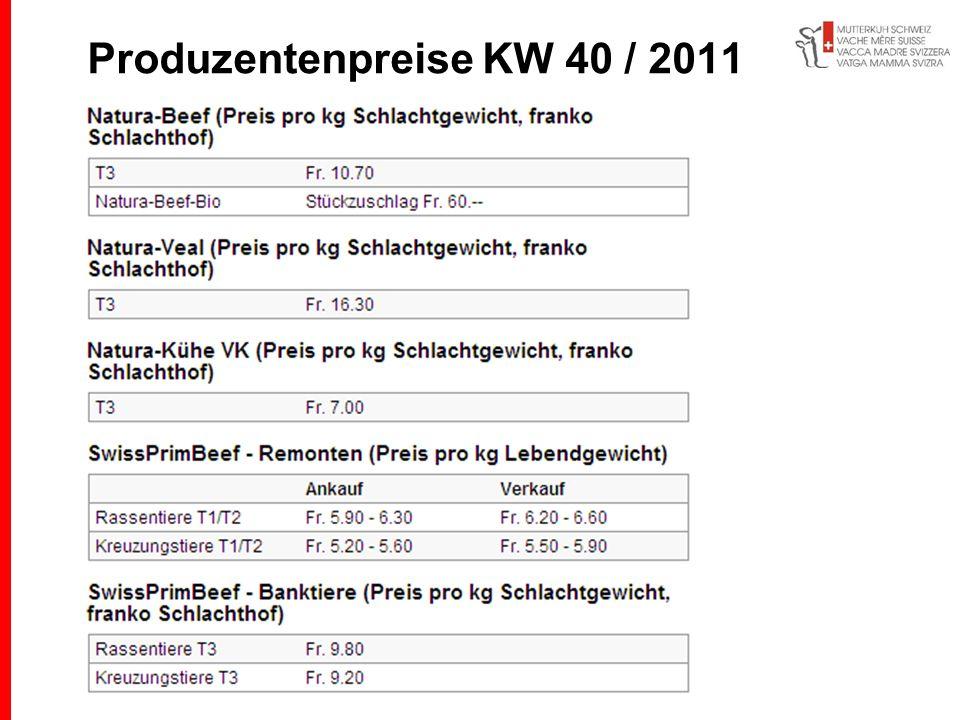 Produzentenpreise KW 40 / 2011