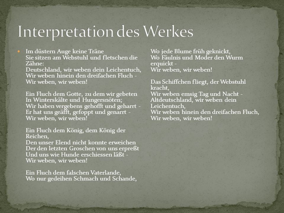 Interpretation des Werkes