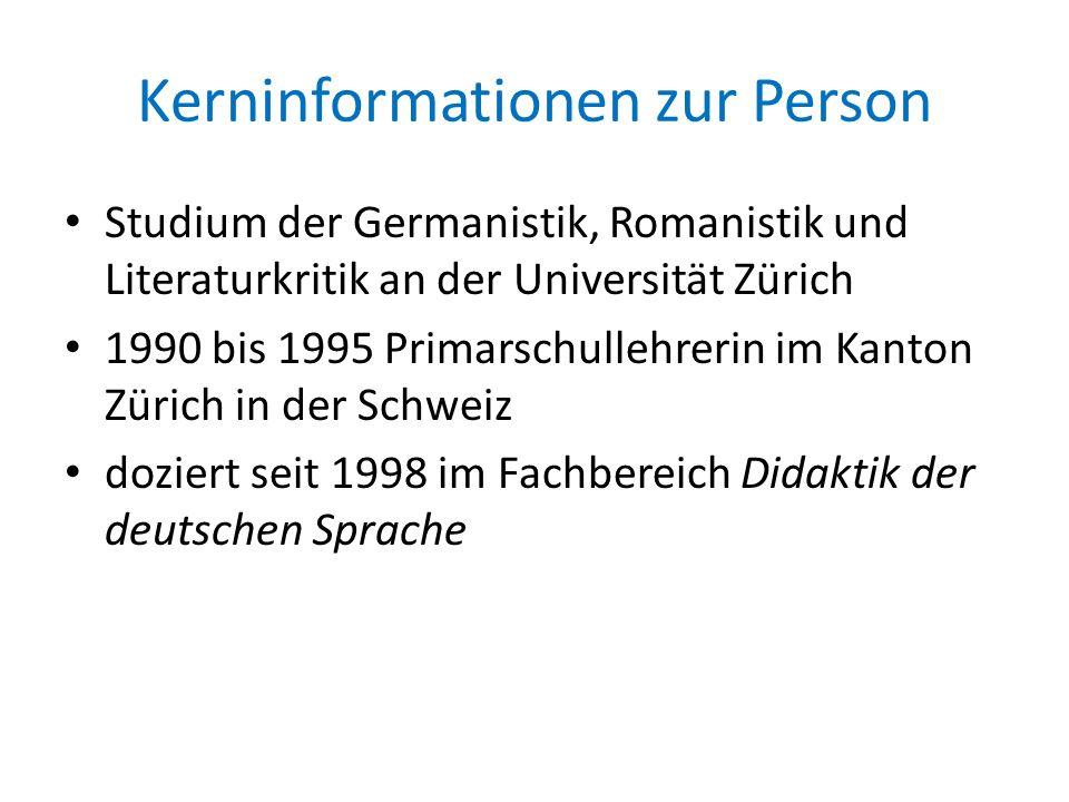 Kerninformationen zur Person