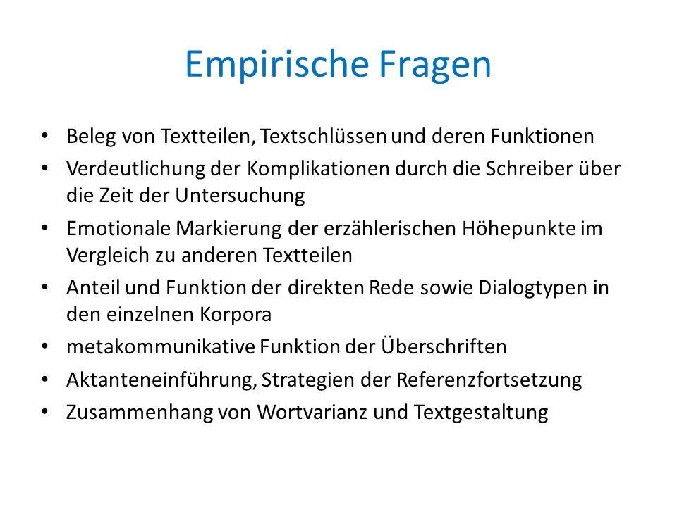 Empirische Fragen Beleg von Textteilen, Textschlüssen und deren Funktionen.