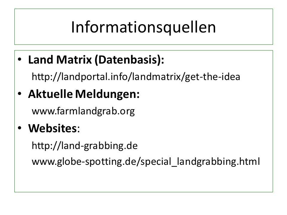 Informationsquellen Land Matrix (Datenbasis): Aktuelle Meldungen: