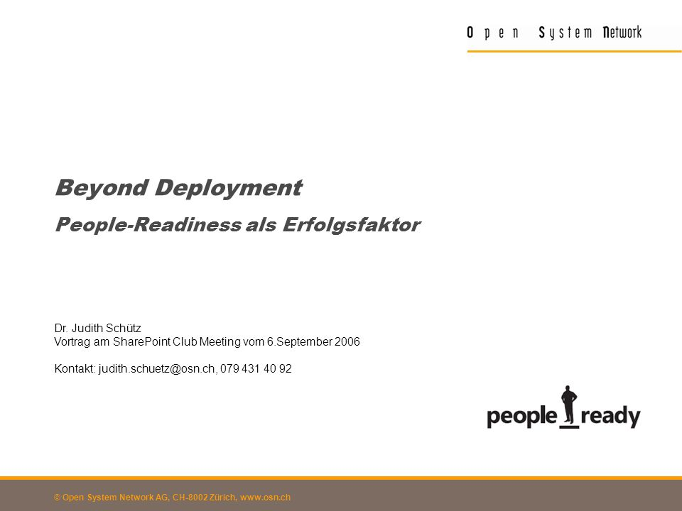 Beyond Deployment People-Readiness als Erfolgsfaktor